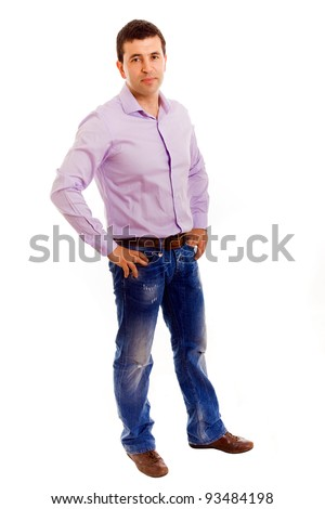Happy smiling young man standing full length isolated on white background - stock photo