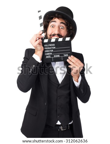 happy smoking man with clapper - stock photo