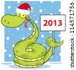 Happy Snake With Santa Hat Holding Up A Blank Sign In Snow. Raster Illustration.Vector version also available in portfolio. - stock photo