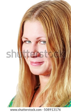 Happy sneaky smiling woman closeup portrait isolated