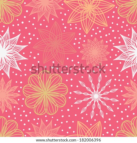 Happy snowflakes pink seamless pattern. Raster version. - stock photo