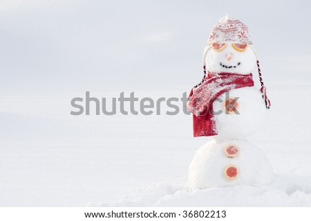 Happy snowman - stock photo