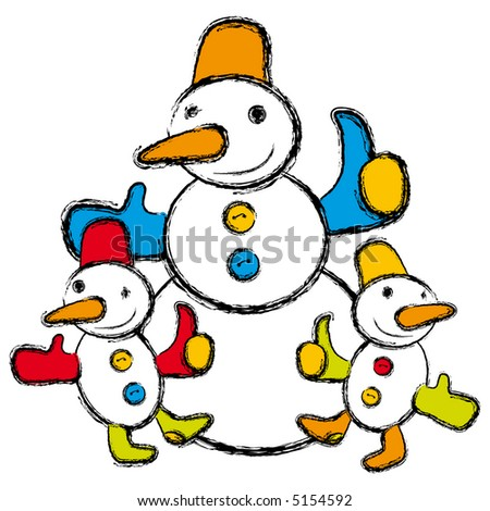 Happy snowman family - stock photo