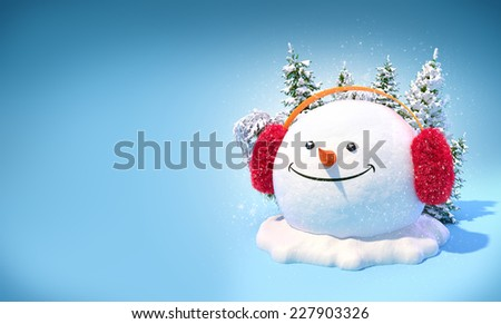 Happy snowman head in a earmuff on a snowdrift on blue background. Unusual christmas illustration. - stock photo