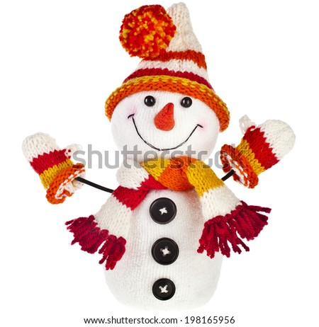 happy snowman in knitted hat and scarf and mittens isolated on white background - stock photo