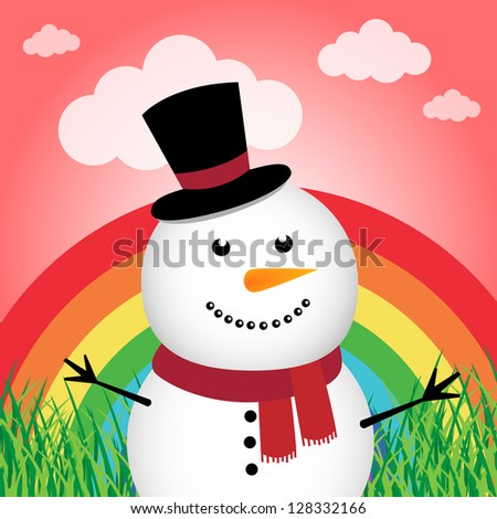 Happy snowman in the forest