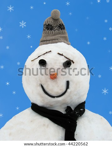 Happy Snowman on Blue - stock photo