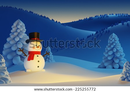 happy snowman, the night Christmas scene - stock photo