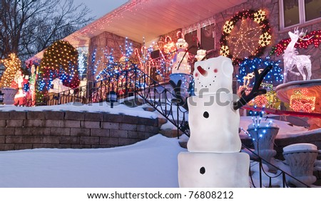 Happy Snowmen - stock photo