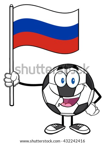 Happy Soccer Ball Cartoon Mascot Character Holding A Flag Of Russia. Raster Illustration Isolated On White Background - stock photo