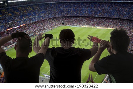 Happy soccer fans in the stadium - stock photo