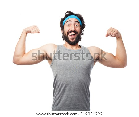 happy sport man strong pose