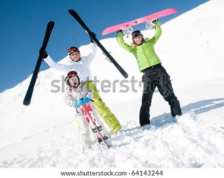 Happy sporty family - stock photo