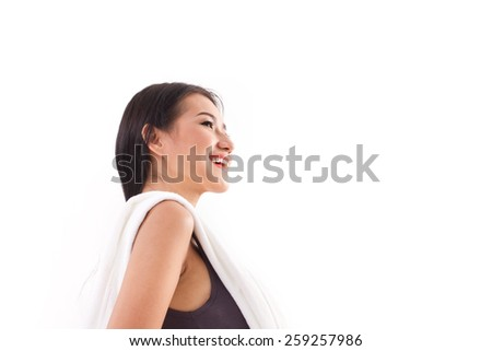 happy, sporty, fitness woman posing with towel - stock photo