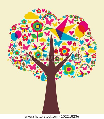 Happy spring time tree composition background. Vector file available.
