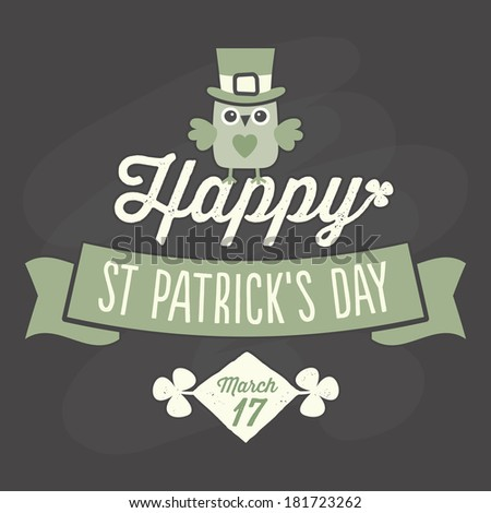 Happy St Patrick's Day card, menu or poster template with cute owl sitting on text and ribbon banner, chalkboard effect, raster version. - stock photo