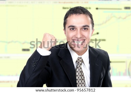 happy stock exchange broker - stock photo