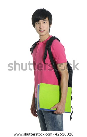happy student carrying bag and books - stock photo