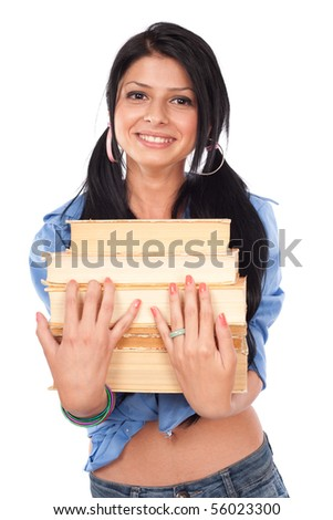 Happy student girl with a stack of books, isolated on white background