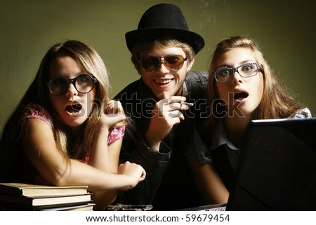 Happy  student group of friends - stock photo