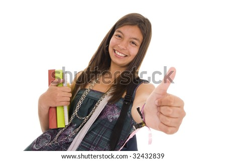 Happy student isolated on white background - stock photo