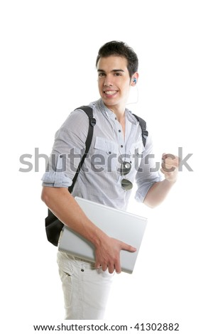 Happy student positive gesture with laptop computer isolated on white - stock photo