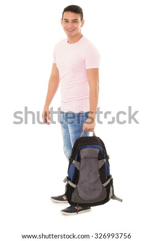 happy student wearing a backpack on a white background - stock photo