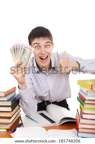 Happy Student with a Money at the School Desk on the white background - stock photo