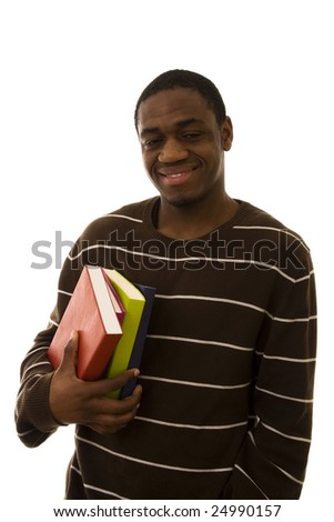 Happy student with colorful books isolated on white
