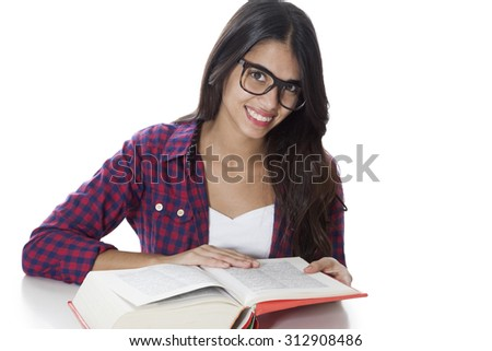 Happy student with glasses and book