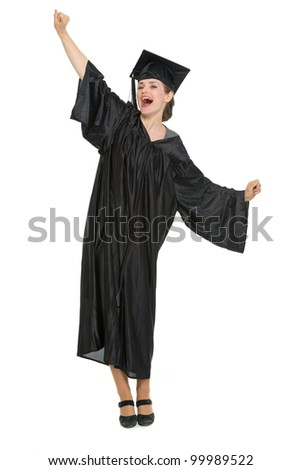 Happy student woman rejoicing graduation. HQ photo. Not oversharpened. Not oversaturated