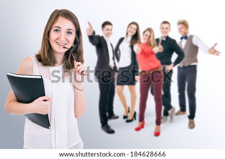 Happy students group - stock photo