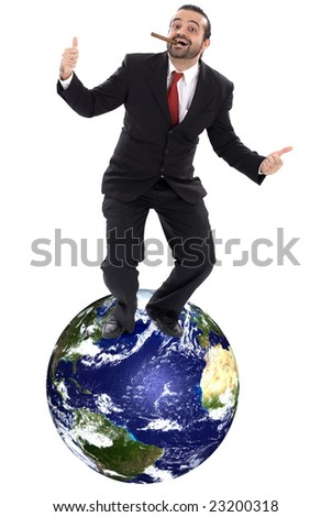 Happy Success Businessman on top of the Earth.