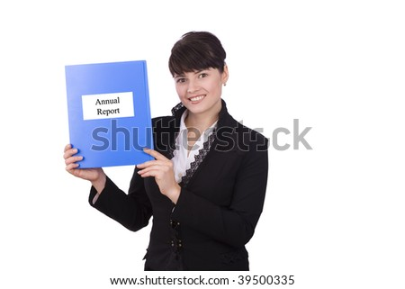 Happy successful business woman is annual report. Brunette businesswoman dressed in black suit with yearly report. - stock photo
