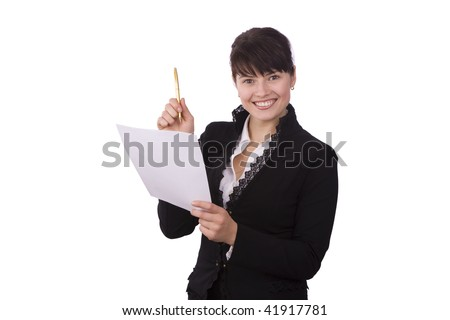 Happy successful business woman is holding documents and pen. Young business girl with paper. Isolated over white background. - stock photo