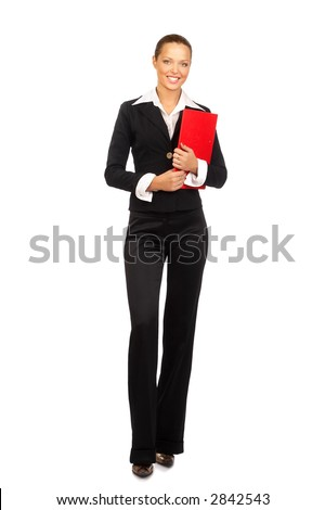Happy successful businesswoman. Isolated over white background