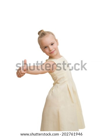 happy successful girl on white bacground - stock photo