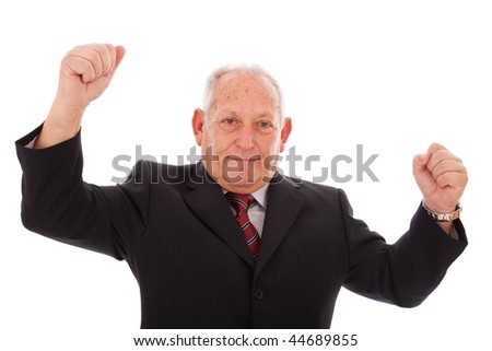 happy successful senior businessman (isolated on white) - stock photo