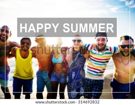 Happy Summer Friendship Beach Vacation Concept - stock photo