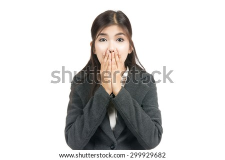 Happy surprised excited business asian woman with blank copy space,Closeup portrait beautiful Asian woman,Thai girl,Positive human emotion facial expression,isolated on white background