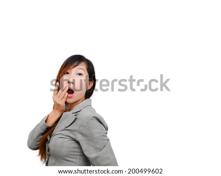 Happy surprised excited woman holding the hand for her mouth in surprise. Isolated on white background. - stock photo