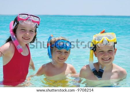 happy swimmers - stock photo