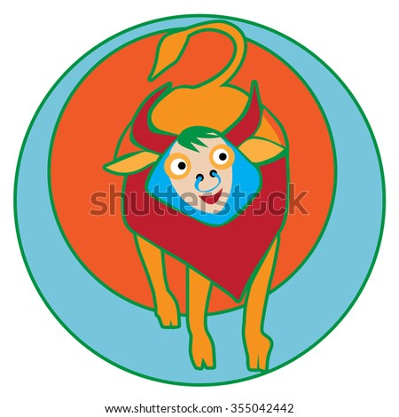 Happy Taurus sticker, clip-art hand drawn illustration of a cheerful cartoon character isolated on white - stock photo