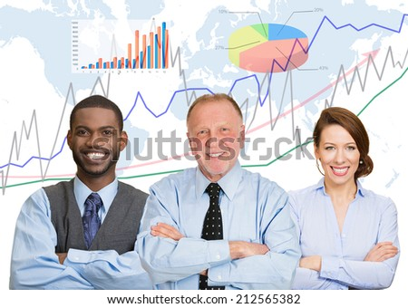 Happy team, group of confident business people, team leader concept, finance graph, chart, diagram, world map on background. Happy smiling corporate employees. Busy office lifestyle company executive - stock photo