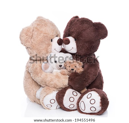 Happy teddy bear family with two children isolated over white. - stock photo