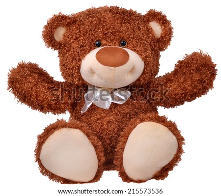 Happy teddy bear raising his arms isolated on white background - stock photo