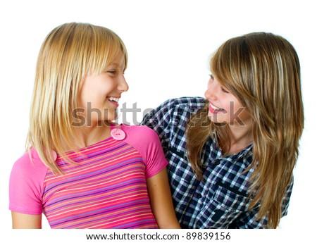 Happy Teen Friends over white.Teenage Girls.Friendship - stock photo