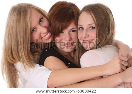happy teen friends - young students - stock photo