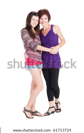 happy teen girl and mother isolated on white - stock photo