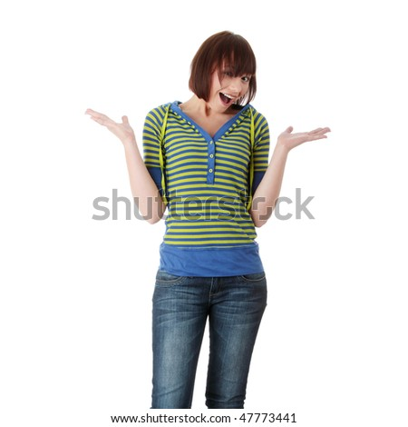 Happy teen girl portrait, over white background